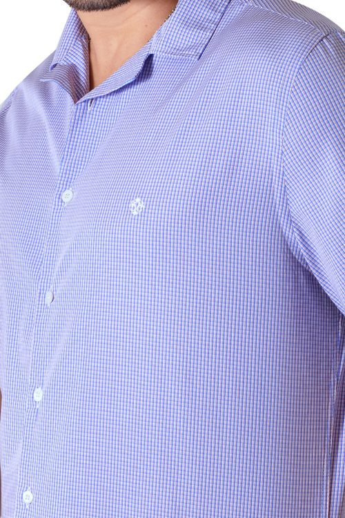 Camisa casual masculina tradicional algodão fio 60 azul médio f01506a