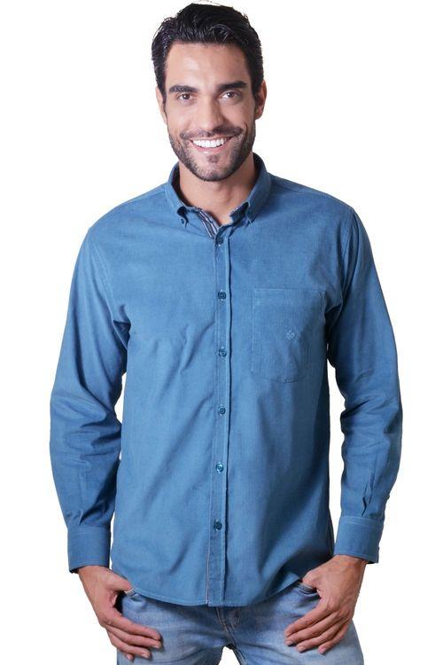 Camisa casual masculina tradicional veludo azul f01517a