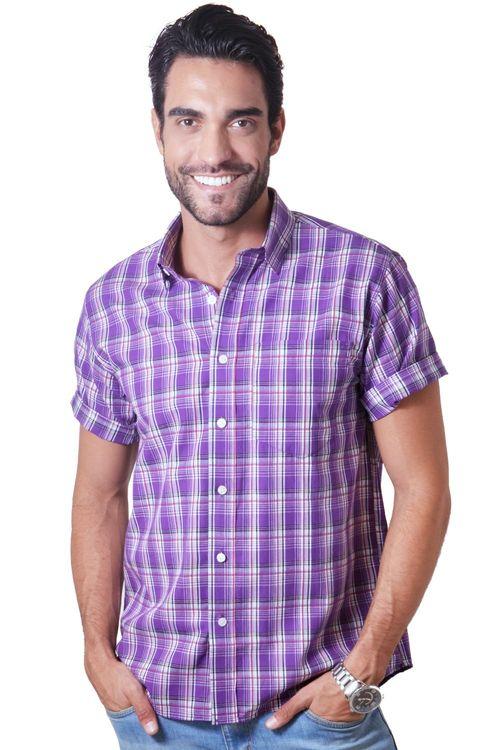 Camisa casual masculina tradicional algodão fio 40 roxo f05541a