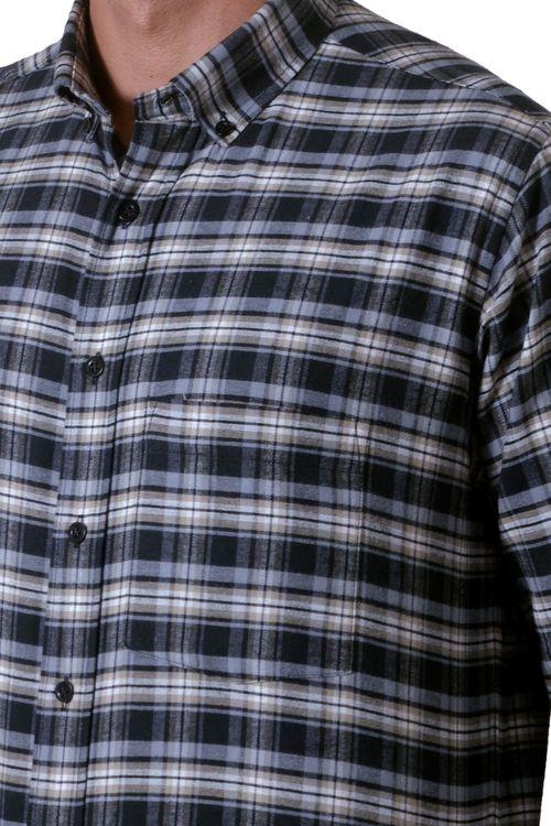 Camisa casual masculina tradicional flanela preto f05689a