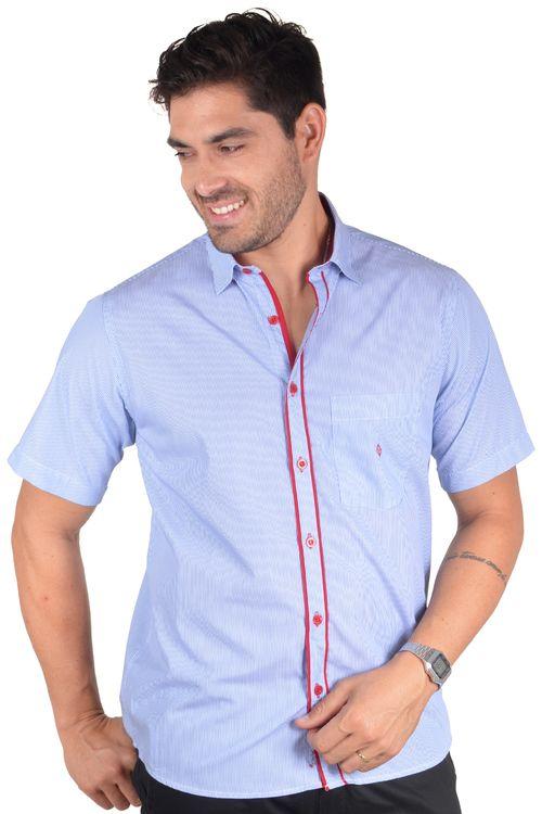 Camisa casual masculina tradicional algodão fio 60 azul médio f01277a