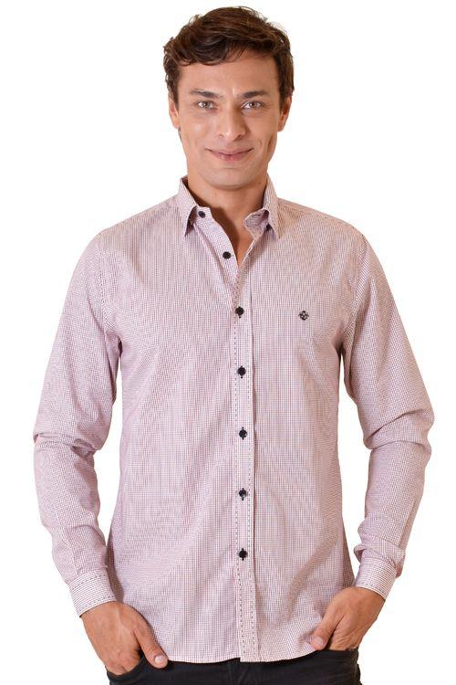 Camisa casual masculina slim algodão fio 60 vermelho f01348s