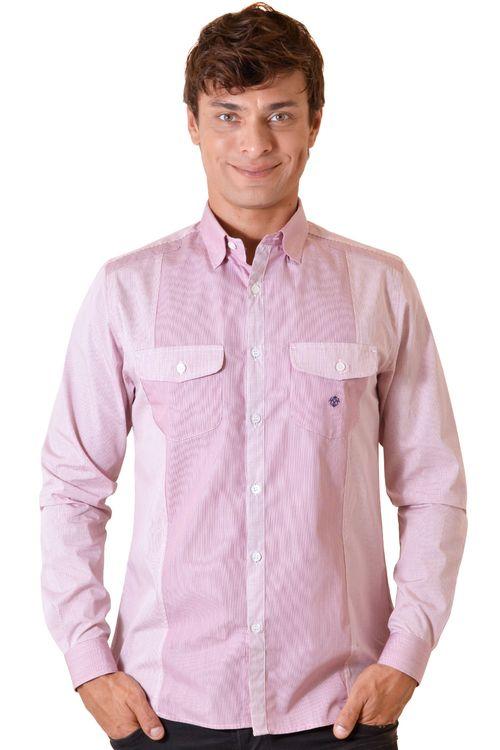 Camisa casual masculina slim algodão fio 80 vermelho f00793s