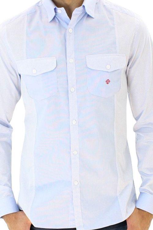 Camisa casual masculina slim algodão fio 80 azul f00793s