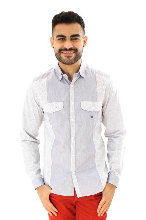 Camisa casual masculina slim algodão fio 80 azul escuro f00793s