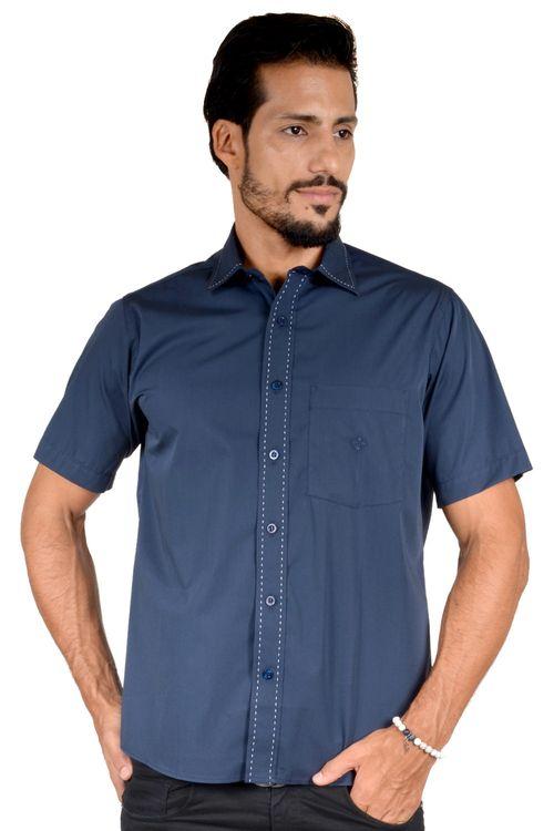 Camisa casual masculina tradicional algodão fio 60 azul escuro f01272a