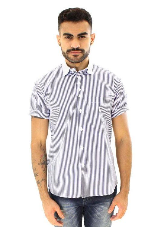 Camisa casual masculina tradicional algodão fio 80 azul f01270a
