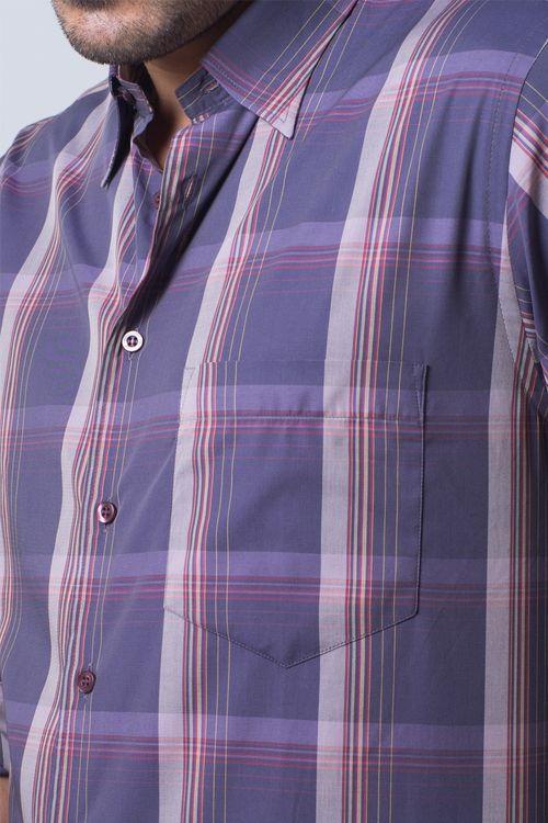 Camisa casual masculina tradicional algodão fio 50 lilás f01668a
