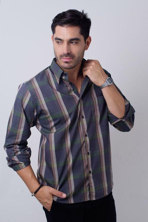 Camisa casual masculina tradicional algodão fio 50 verde f01668a