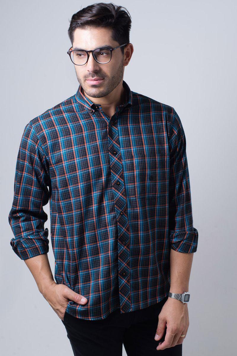 Camisa-casual-masculina-tradicional-flanela-laranja-f01833a-frente