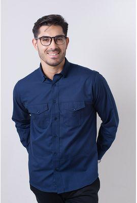 Camisa casual masculina tradicional sarjada azul escuro f01695a