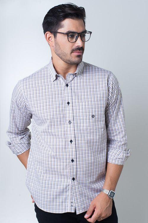 Camisa casual masculina tradicional algodão fio 50 roxo f01410a