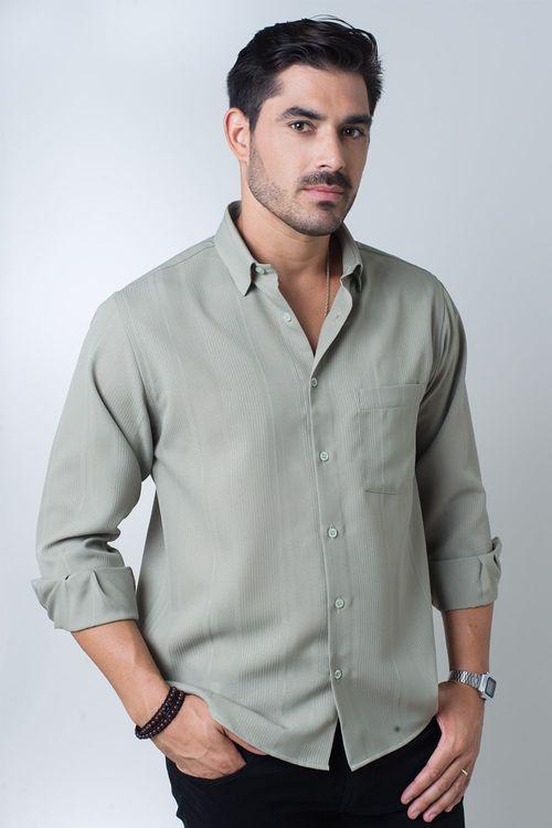Camisa casual masculina tradicional microfibra verde f06208a