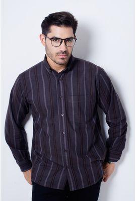 Camisa casual masculina tradicional flanela marrom f04521a