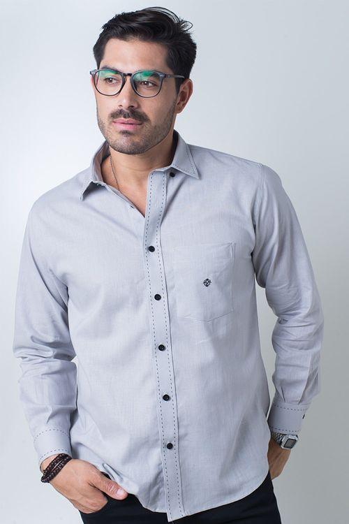 Camisa casual masculina tradicional linho misto cinza f01295a