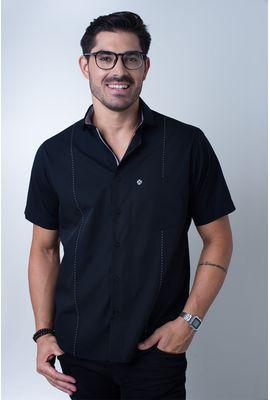 Camisa casual masculina tradicional algodão fio 60 preto f01145a