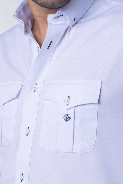 Camisa casual masculina tradicional sarjada branco f01700a