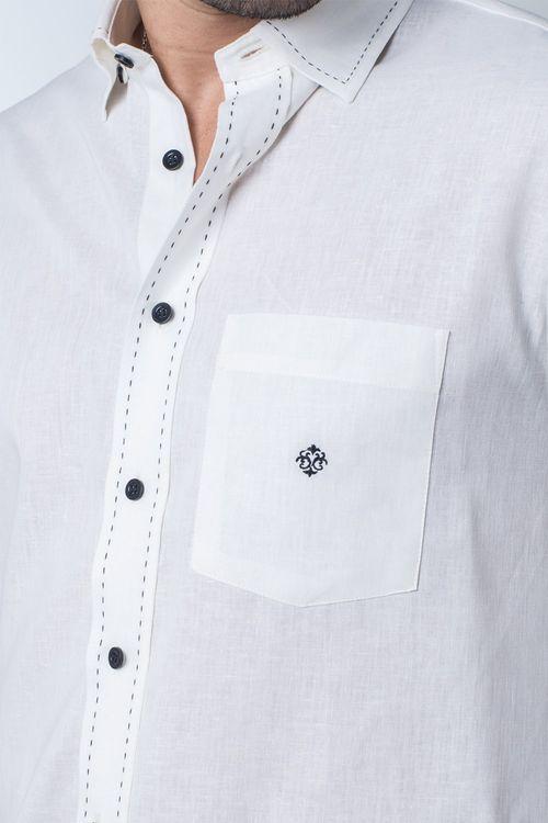 Camisa casual masculina tradicional linho misto creme f01295a