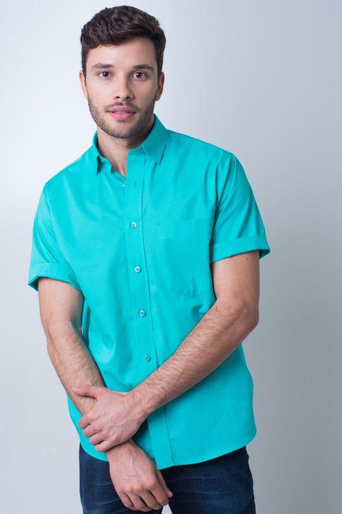 Camisa básica masculina tradicional algodão fio 40 verde r09903a