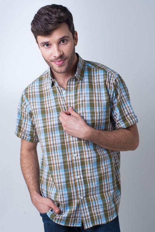 Camisa casual masculina tradicional algodão fio 40 verde f05527a