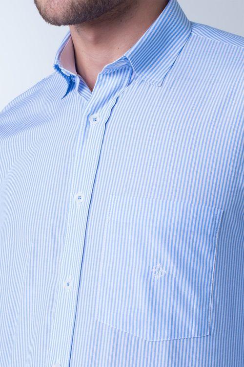 Camisa casual masculina tradicional listrada azul claro f01755a