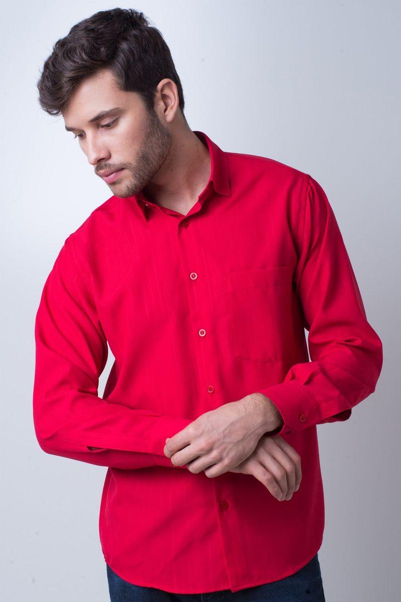 Camisa-casual-masculina-tradicional-microfibra-vermelho-f06208a-frente