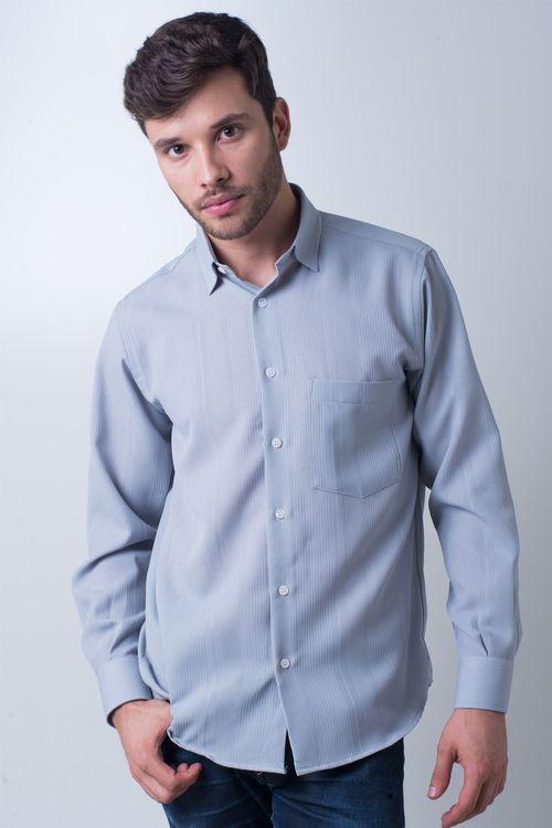 Camisa casual masculina tradicional microfibra cinza f06208a