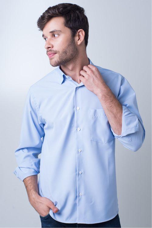 Camisa casual masculina tradicional microfibra azul claro f06208a
