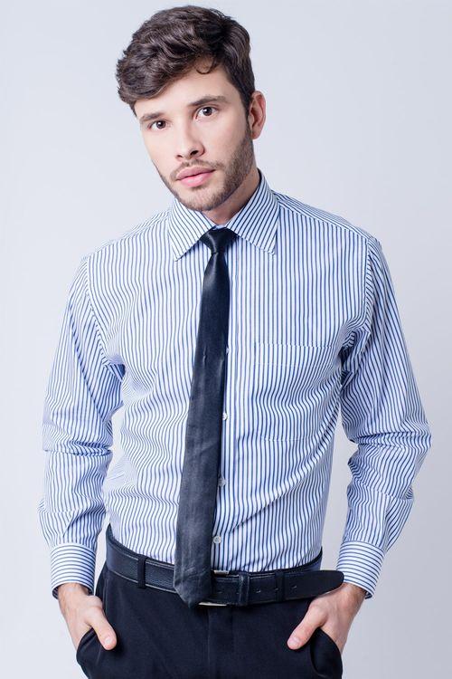 Camisa social masculina tradicional algodão fio 60 azul f03823a