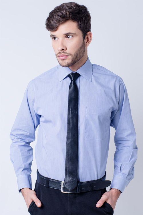 Camisa social masculina tradicional algodão fio 60 azul escuro f03823a