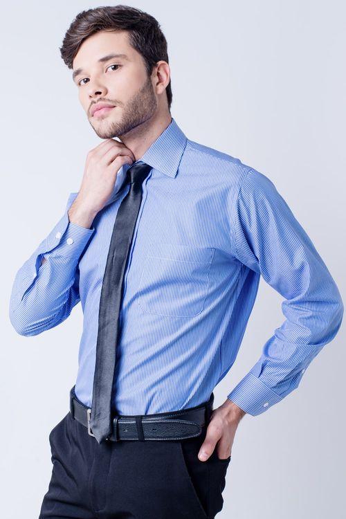 Camisa social masculina tradicional algodão fio 60 azul médio f03823a