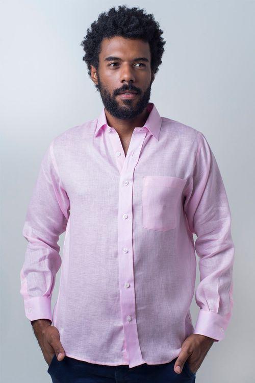 Camisa casual masculina puro linho tradicional rosa r03943a