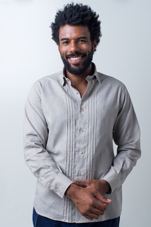 Camisa casual masculina tradicional linho misto bege f01292a