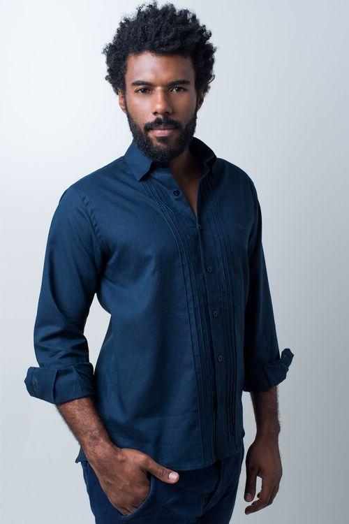 Camisa casual masculina tradicional linho misto azul escuro f01293a