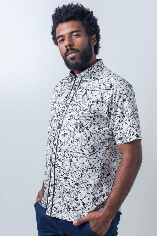 Camisa casual masculina tradicional algodão fio 40 preto f01605a