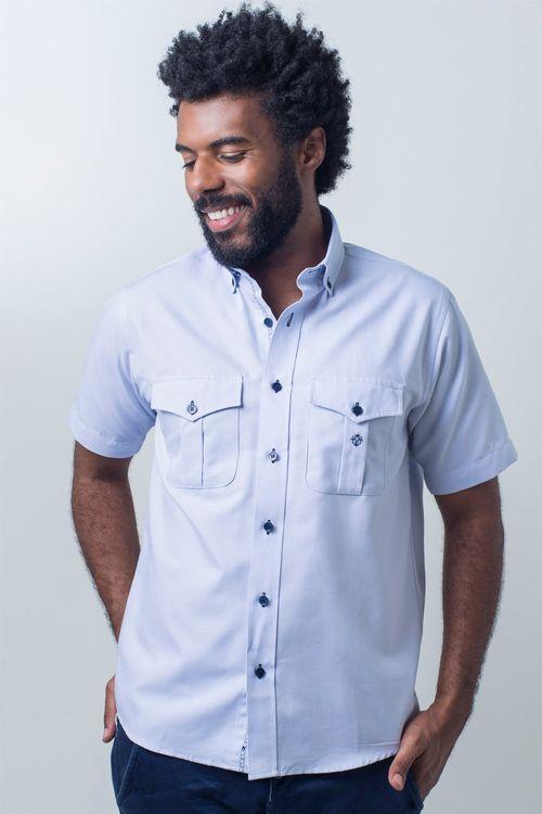 Camisa casual masculina tradicional sarjada azul claro f01700a
