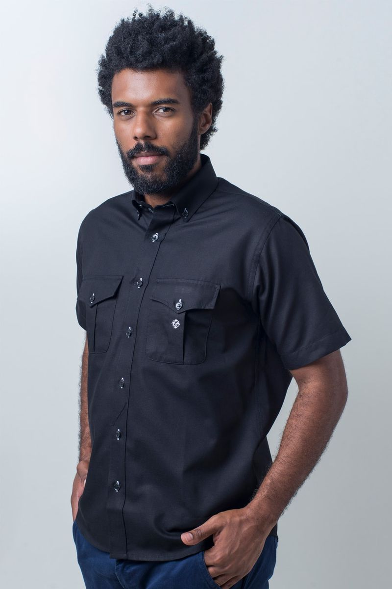 Camisa-casual-masculina-tradicional-sarjada-preto-f01700a-frente