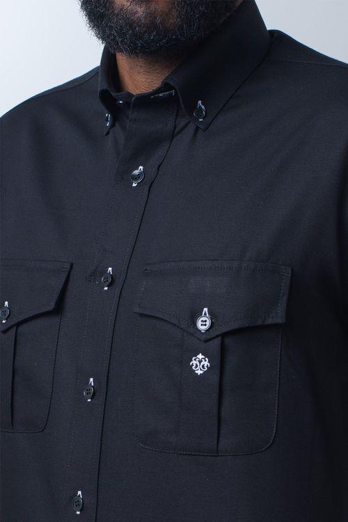 Camisa casual masculina tradicional sarjada preto f01700a