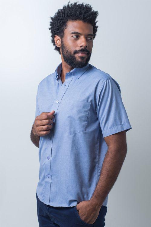 Camisa básica masculina tradicional algodão fil a fil azul escuro r07060a