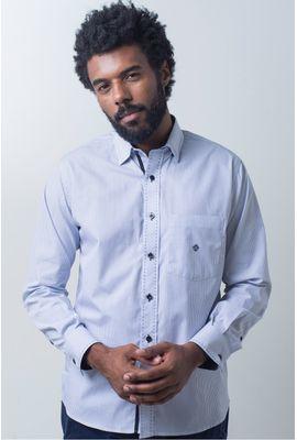 Camisa casual masculina tradicional algodão fio 50 azul f01384a