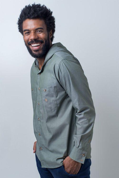 Camisa casual masculina tradicional algodão fio 40 verde f01444a