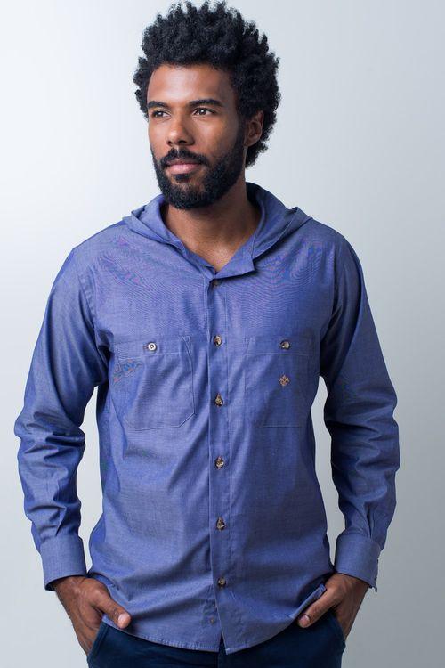 Camisa casual masculina tradicional algodão fio 40 azul f01444a