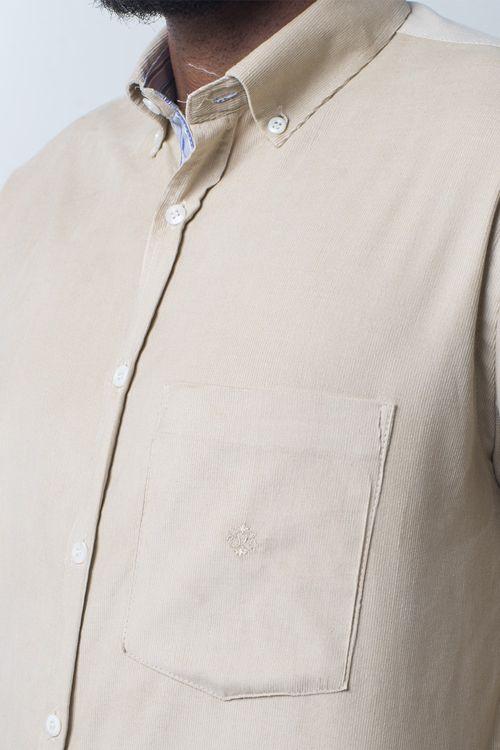 Camisa casual masculina tradicional veludo creme f01517a