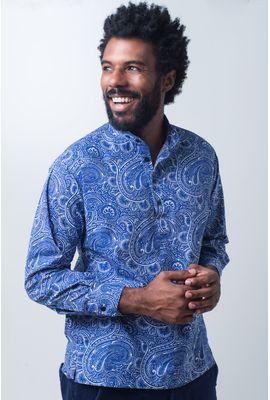 Camisa bata casual masculina tradicional algodão fio 50 azul f01675a