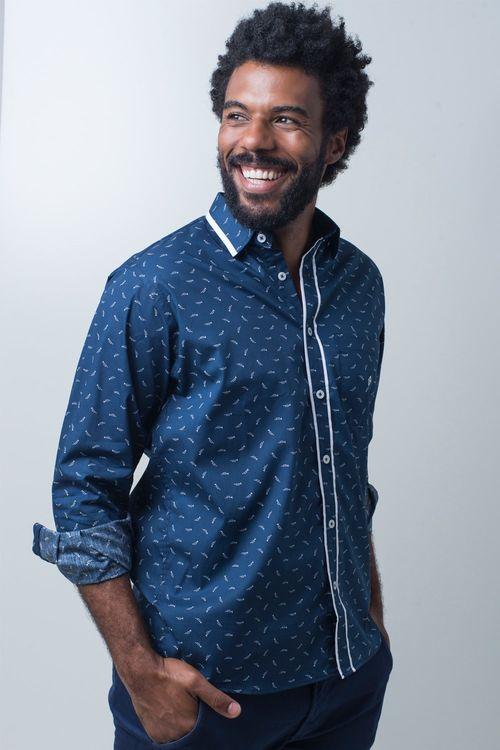 Camisa casual masculina tradicional algodão fio 60 azul escuro f01784a