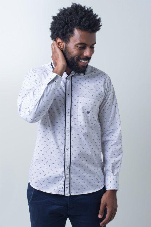 Camisa casual masculina tradicional algodão fio 60 branco f01784a