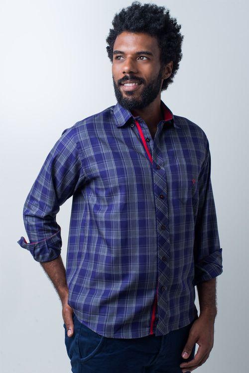 Camisa casual masculina tradicional algodão fio 40 roxo f01830a