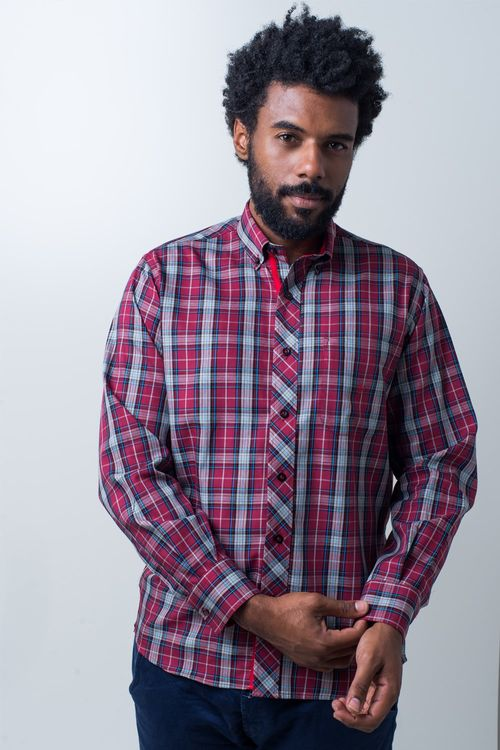 Camisa casual masculina tradicional algodão fio 40 vermelho f01830a