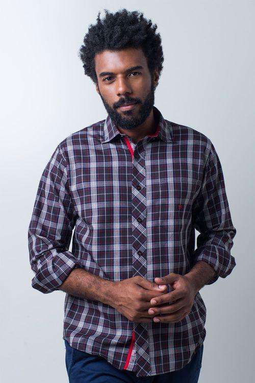 Camisa casual masculina tradicional algodão fio 40 preto f01830a