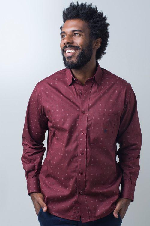 Camisa casual masculina tradicional algodão fio 40 bordo f01863a